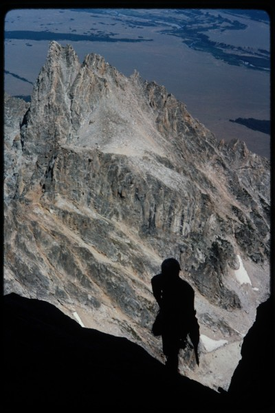 Looking down at Jimmy as I head towards the start of our couloir.  Mt ...