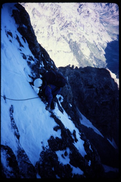 Jimmy coming up the first pitch of the enclosure couloir.