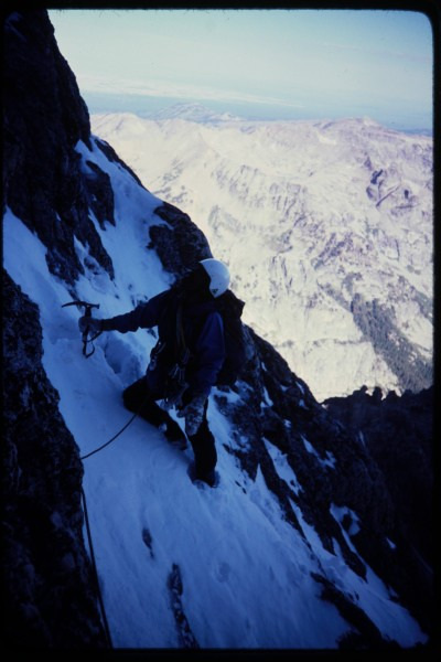 Jimmy approaching our first belay in the enclosure couloir.