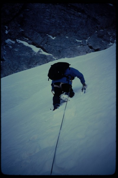 I am leading up one of the lower snowy pitches.