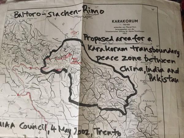 One of his drawn maps of the Baltoro Region
