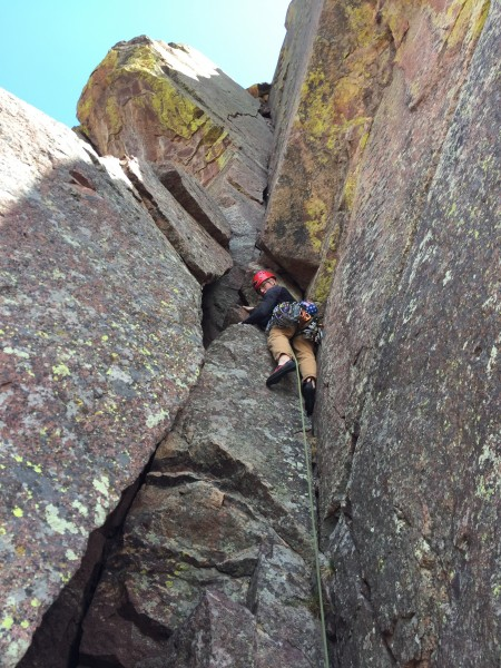 Getting to the business on V3 a really nice crack on Cadillac Crag hig...