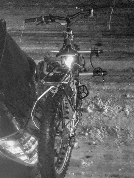 crunched bike, thanks to January rain