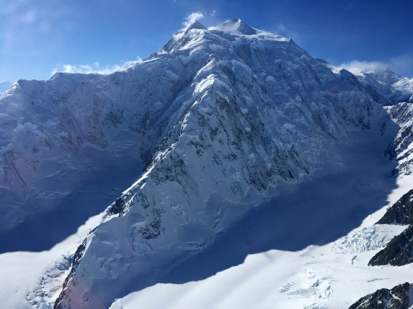 East Ridge of Mt Logan as seen from one of the helicopters that rescue...
