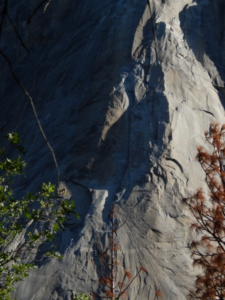 El Cap with climbers at the top of Sickle Ledge (where they would ...