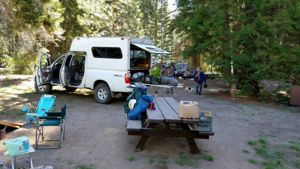 Setting up camp at Quaking Aspen camp ground