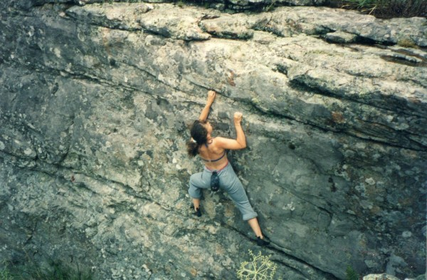 Gaby bouldering in Balcarce about 20 years ago (pre-crashpad days)