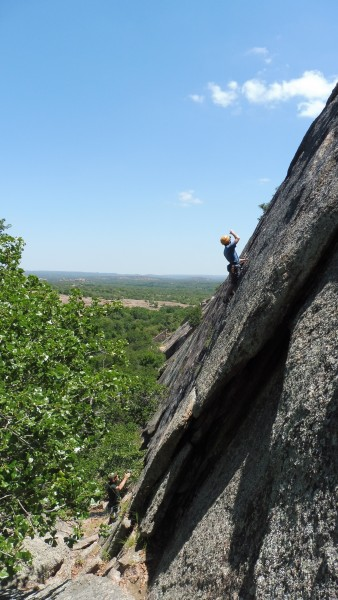 Clipping well-spaced bolts at Enchanted Rock S.N.A.