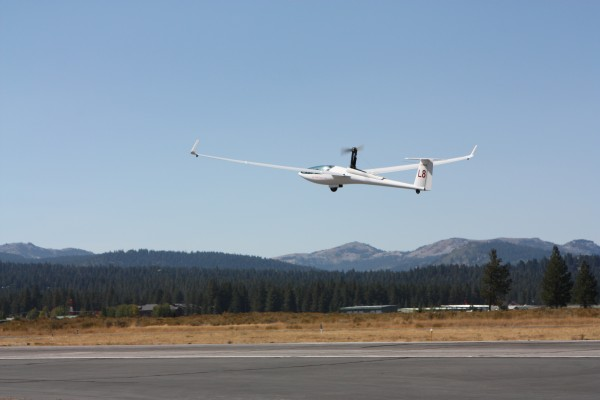 An inspiring self-propelled take-off.  The engine gets turned off and ...