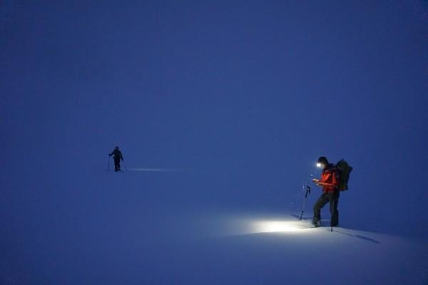 Navigating at the base of Mt Hunter