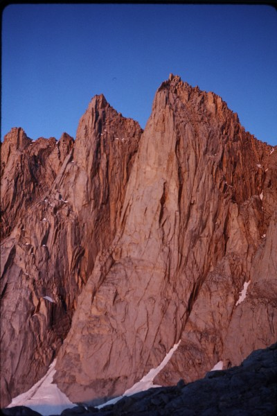 Early morning alpenglow on the Keeler Needle just south of Mt Whitney.