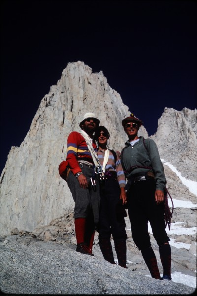 L to R, John, Sharon, and Nick and the east face of Mt. Whitney