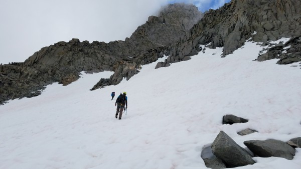 "Heading across the ""L"" Snow Field, then a hundred meters or so up the ..."