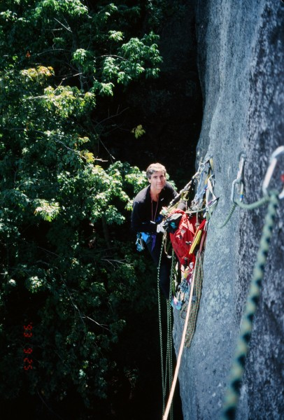 Mordor Wall 2nd pitch 1993 (looking back to the belay).
