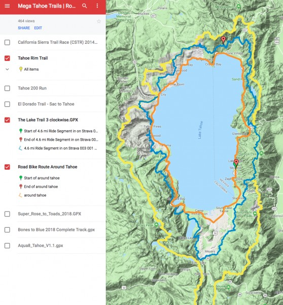 Road in Orange, Tahoe Rim Trail in Yellow and proposed MTB trail in Bl...