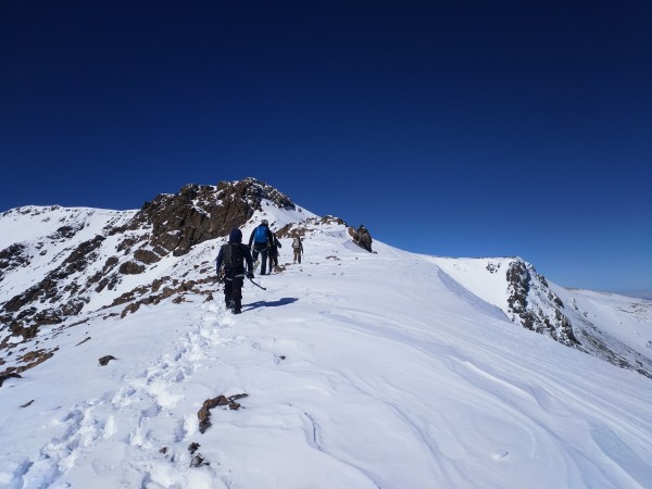 Approaching the north buttress, the only committed climbing on the rou...