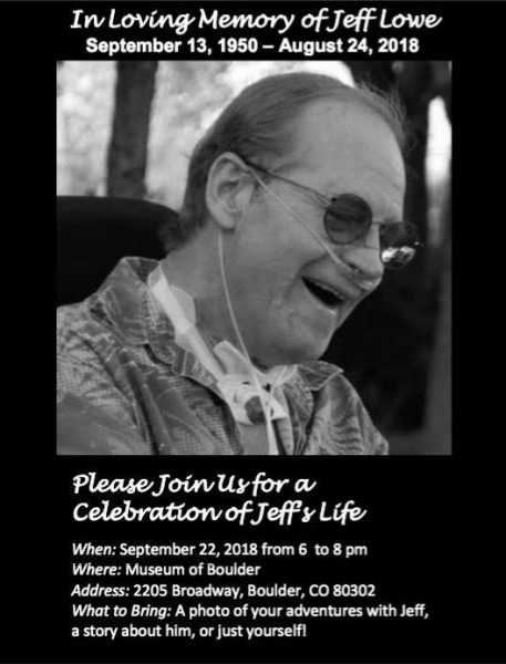 Jeff Lowe Celebration of Life Info (Colorado)