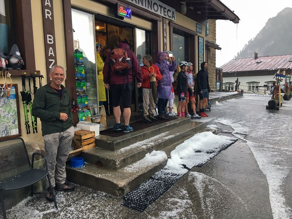 Hiding out at the gift shop/cafe on Falzarego Pass during a storm.