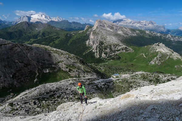 View from the large choss ledge system part way up, the Marmolada in t...