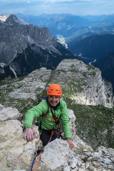 Arriving at the summit of Cima Piccola