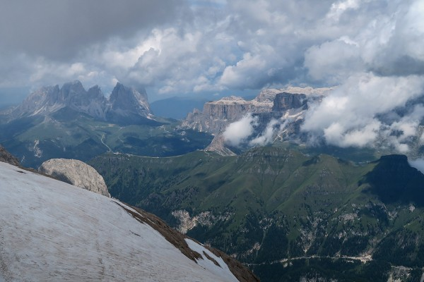 Amazing view towards Sella Pass from the top of the Marmolada.  Althou...