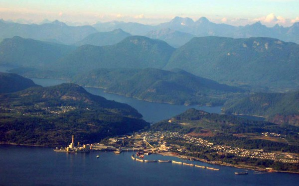 Aerial view of Powell River from the west.