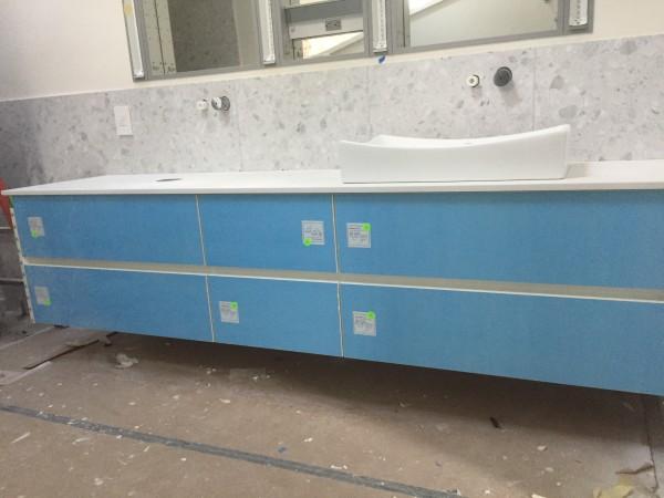 Master bathroom floating cabinet