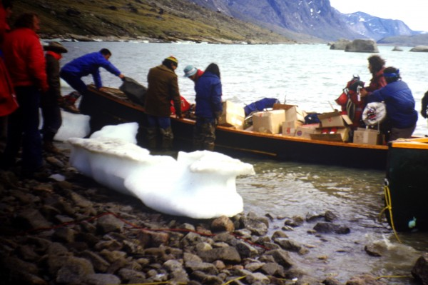 Unloading at the head of the fjord.