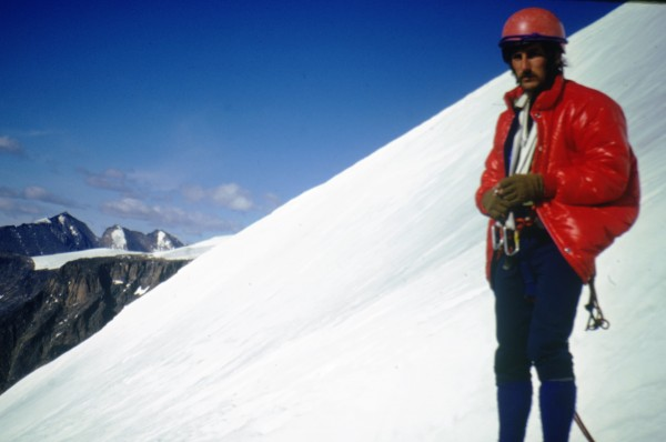 Ken contemplating the slope. EBs, no axe or crampons!