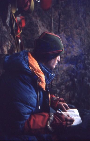 In the bivi cave.