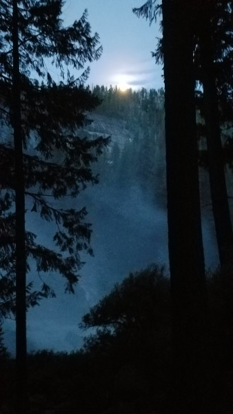 Moonset over the Mist of Nevada Falls, shortly after Vernal.