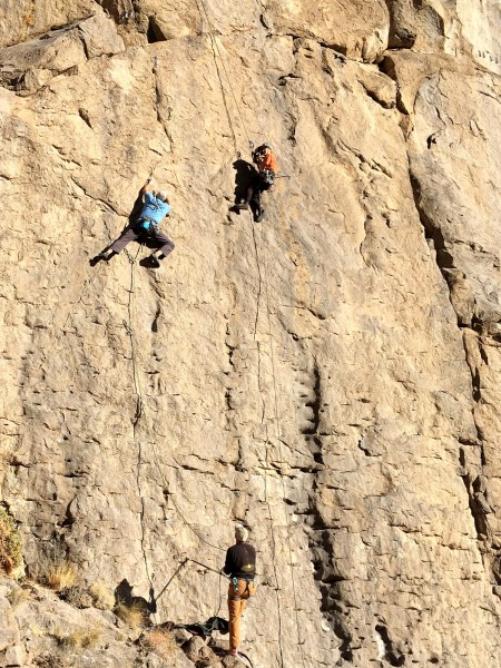 """Maidy pic of Marty Lewis on his send of our new route """"Outflow Hazard""""..."""