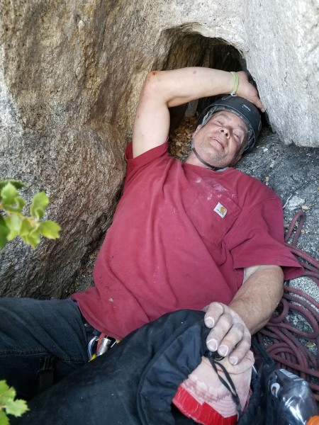 Elliot Robinson, exactly where he sat to belay me up the crux offwidth...