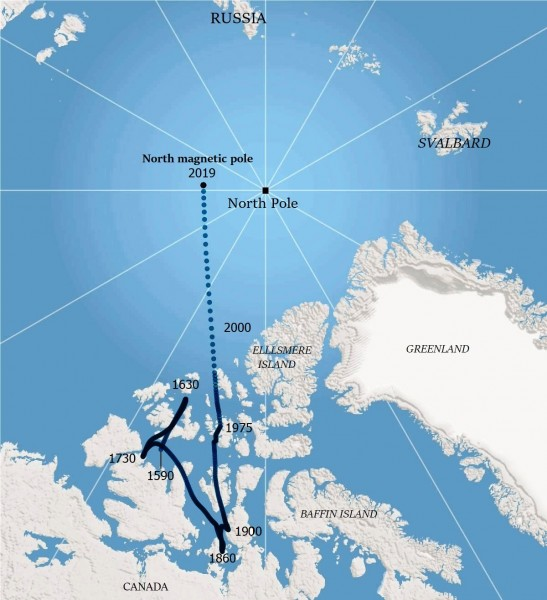 The north magnetic pole, the point on the Earth where a compass needle...