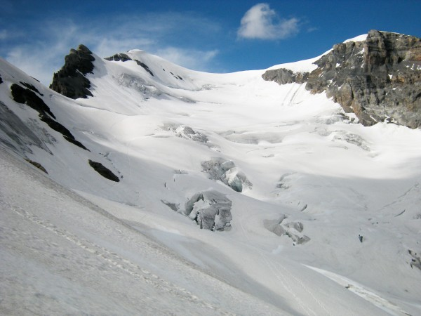 Main summit on the left, normal route climbs the glacier from bottom r...