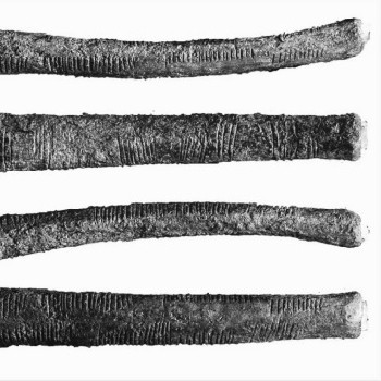 photos of the four sides of the ishango bone and its corresponding tal...