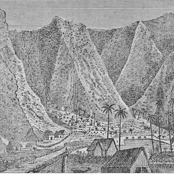 a sketch of waipi'o valley by william ellis in about 1823