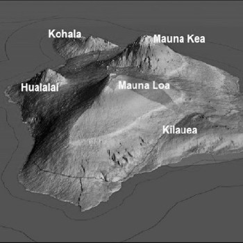 the five volcanoes that comprise the big island of hawai'i