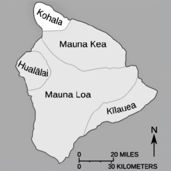 and the same five in plan view with kohala at the northwest tip.