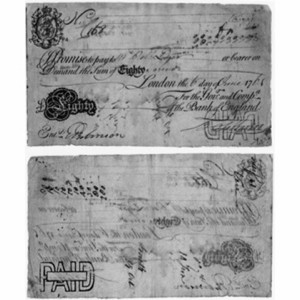 the first partially printed bank notes [that replaced the previously a...
