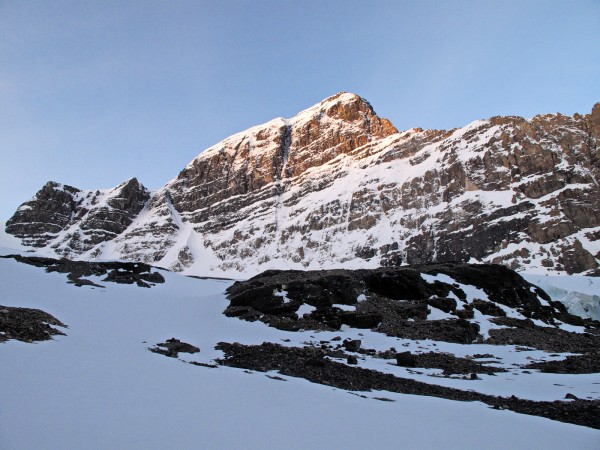The northeast face of Mt. Andromeda on a crisp May morning, with the o...