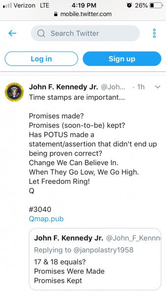 JFK JR post on 3-12-19 ... -21 days from 2-26 is coming ...