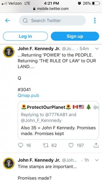 JFK JR. Tweeter post on 3-12-19 ... getting close to -21 days on 3-18 ...