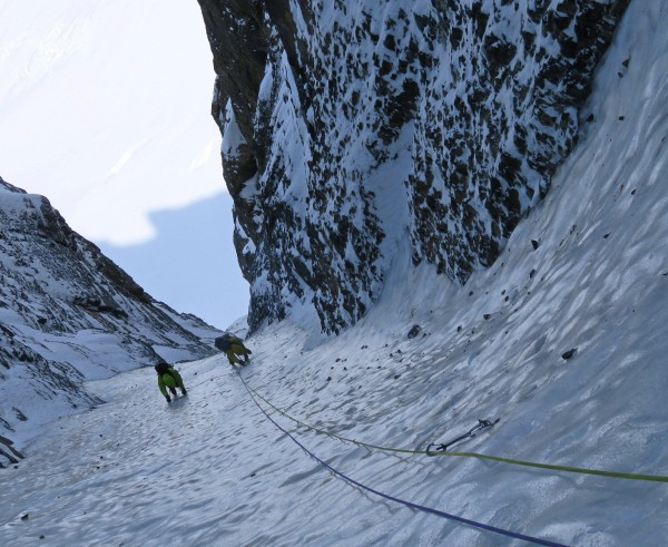 The upper couloir resembles nothing so much as a giant luge run.