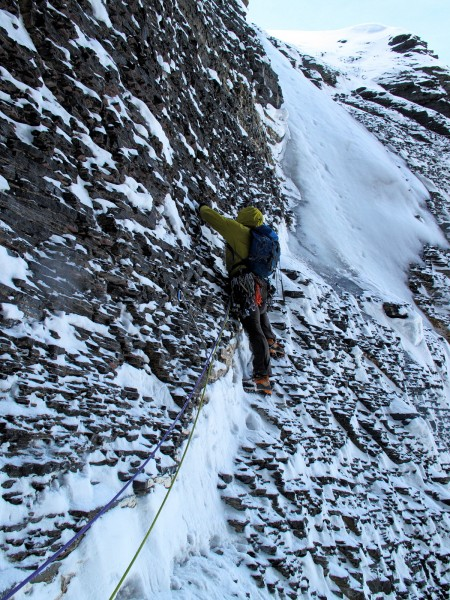 Alik Berg strikes a classic pose on the traverse to the exit ice pitch...