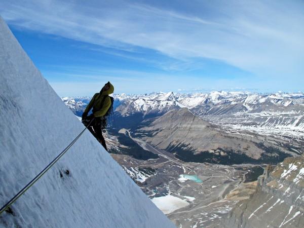 Alik Berg contemplates where the cornice guarding the summit might be ...