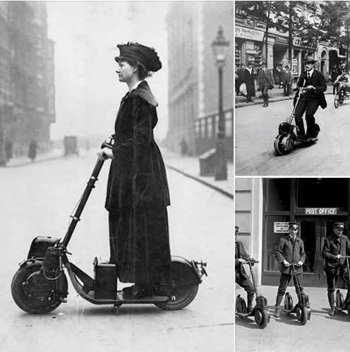 Electric scooter, circa 1920, but progress snuffed out by the emerging...