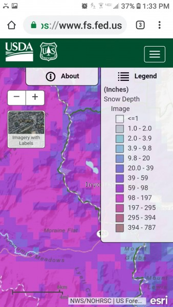 Current snow accumulations for Tuolumne Meadows