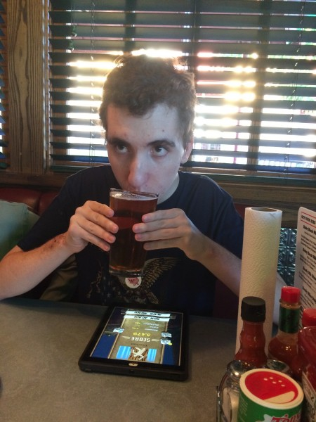 Here is Carl on his 21st birthday. Drinking his first legal beer. And ...