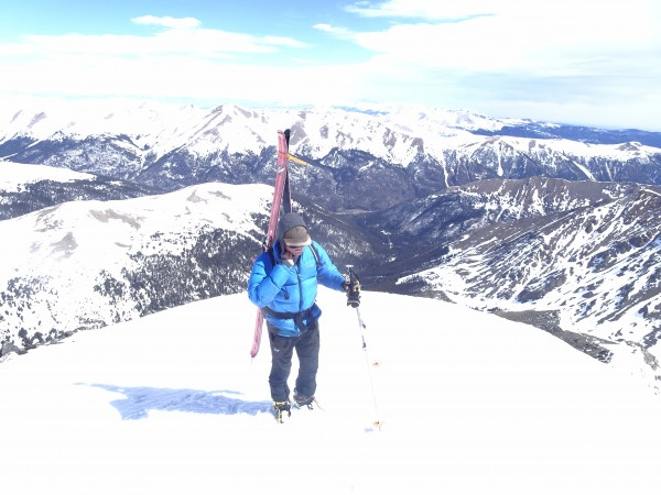 Topping out on Torrey's with I 70 in the back ground.  We skied right ...